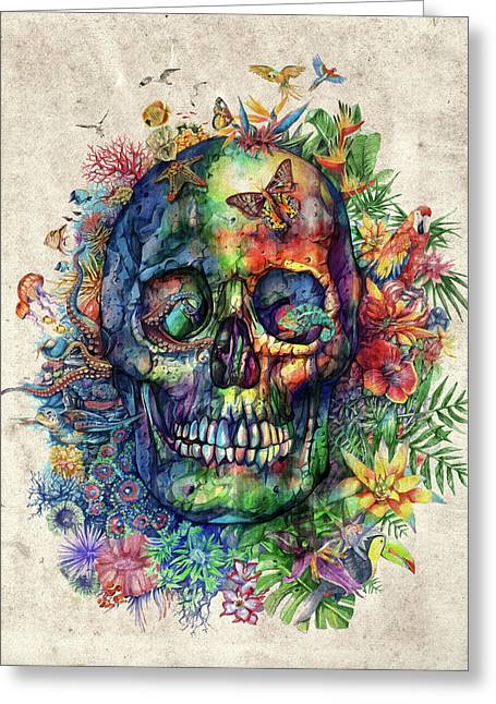 Floral Tropical Skull Greeting Card