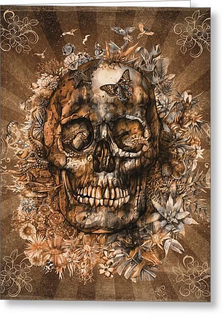 Floral Tropical Skull Vintage 2 Greeting Card