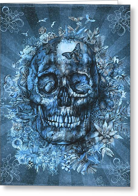 Floral Tropical Skull Vintage Greeting Card