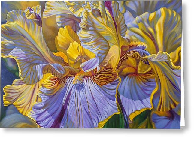 Floralscape 2 - Mauve And Yellow Irises 1 Greeting Card