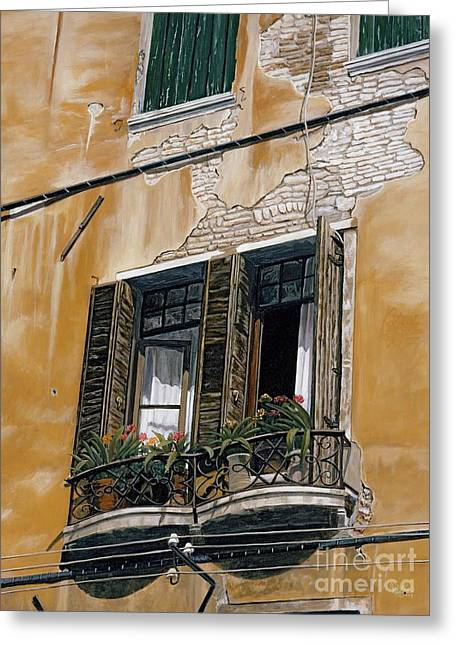 Florence Balcony Greeting Card by Jiji Lee