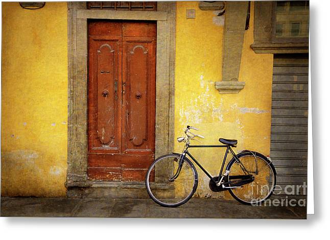Greeting Card featuring the photograph Florence Bicycle Under The Sun by Craig J Satterlee