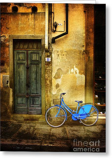Florence Blue Bicycle Greeting Card by Craig J Satterlee