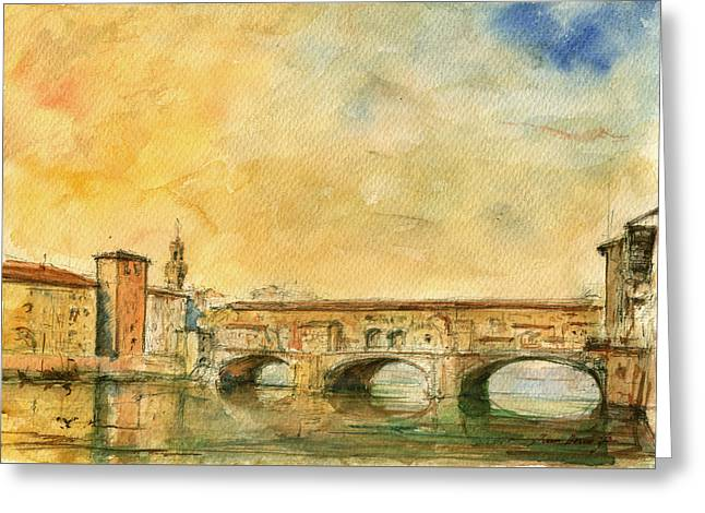 Florence Bridge Ponte Vecchio Greeting Card