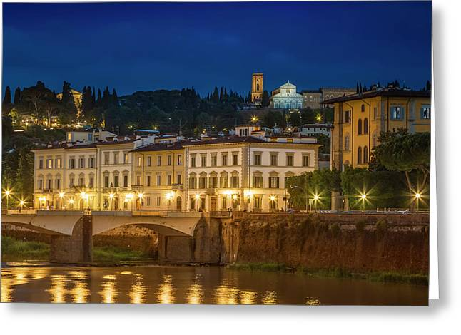 Florence In The Evening Greeting Card by Melanie Viola