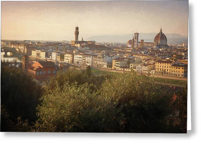 Florence Italy Cityscape Greeting Card by Joan Carroll