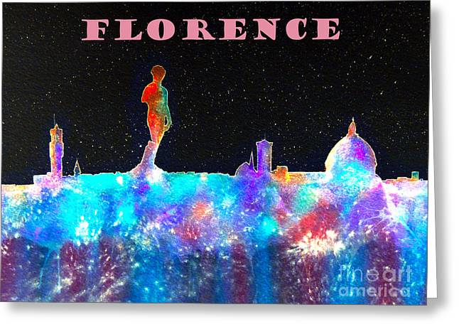 Florence Italy Skyline - Mauve Banner Greeting Card by Bill Holkham