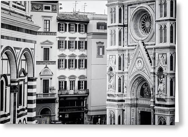 Greeting Card featuring the photograph Florence Italy View Bw by Joan Carroll
