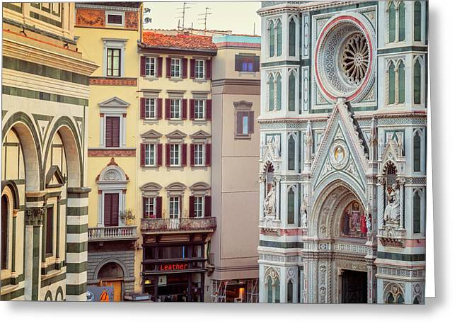 Greeting Card featuring the photograph Florence Italy View by Joan Carroll