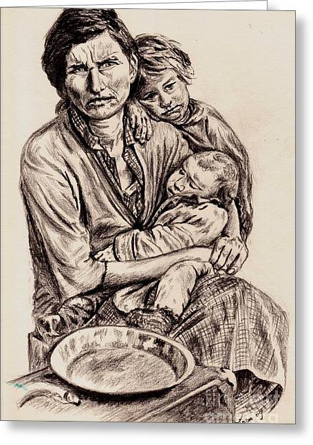 Florence Owens With Children Greeting Card