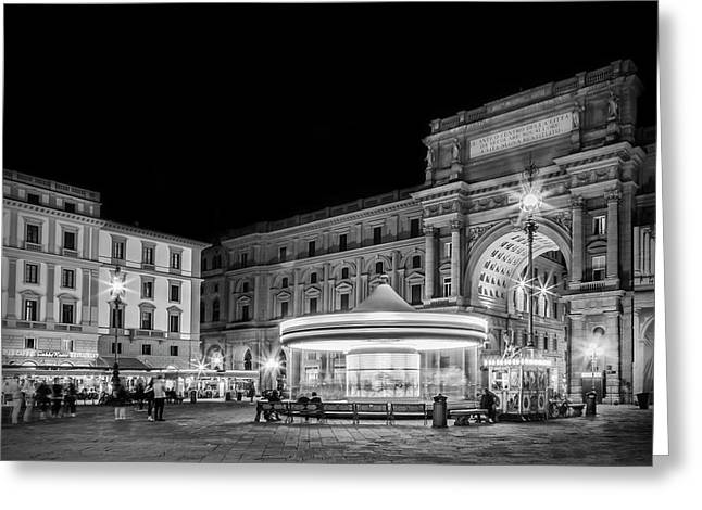 Florence Piazza Della Repubblica In The Evening Greeting Card by Melanie Viola