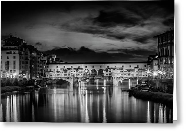 Florence Ponte Vecchio At Sunset Monochrome Greeting Card