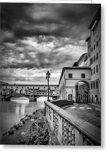 Florence Ponte Vecchio - Monochrome Greeting Card by Melanie Viola