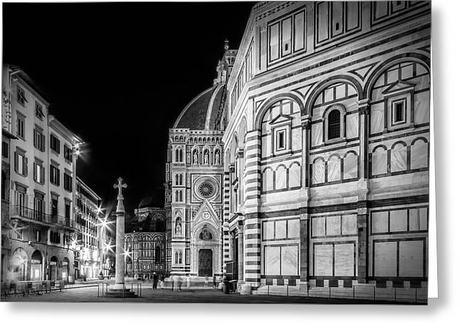 Florence Saint Mary Of The Flowers And Baptistery In Monochrome Greeting Card by Melanie Viola