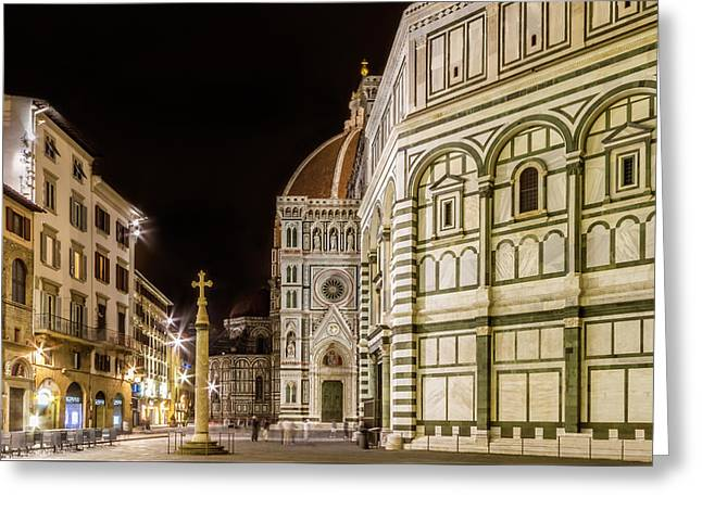 Florence Saint Mary Of The Flowers And Baptistery In The Evening Greeting Card