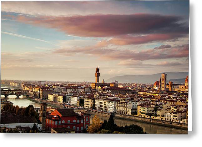 Florence Skyline Greeting Card by Andrew Soundarajan