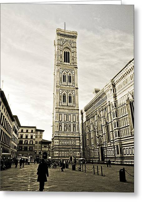 Florence Square With Giotto Greeting Card by Emilio Lovisa