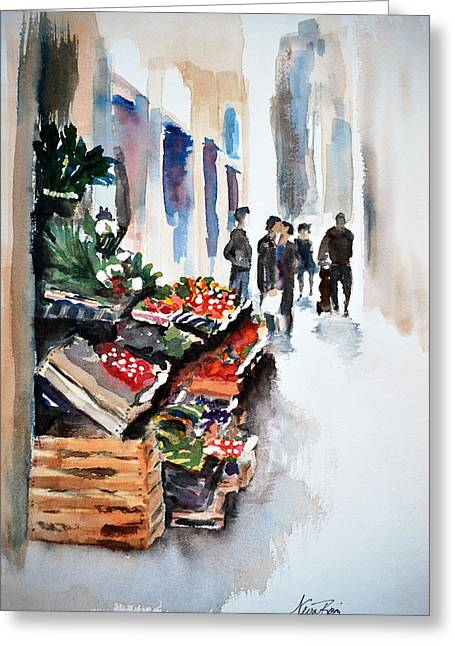 Florence Street Market Greeting Card by Neva Rossi