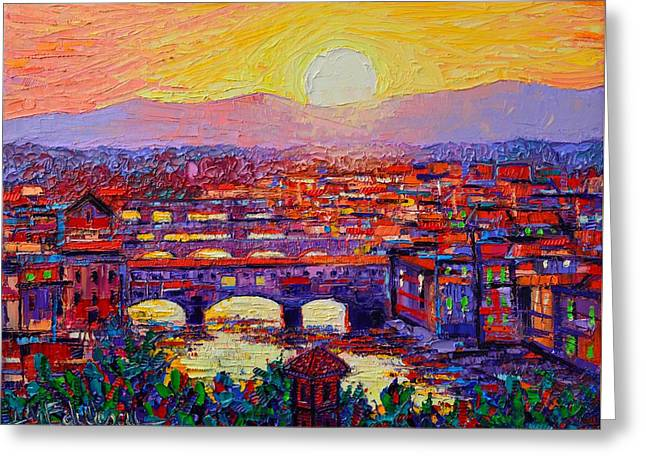 Florence Sunset Over Ponte Vecchio Abstract Impressionist Knife Oil Painting By Ana Maria Edulescu Greeting Card