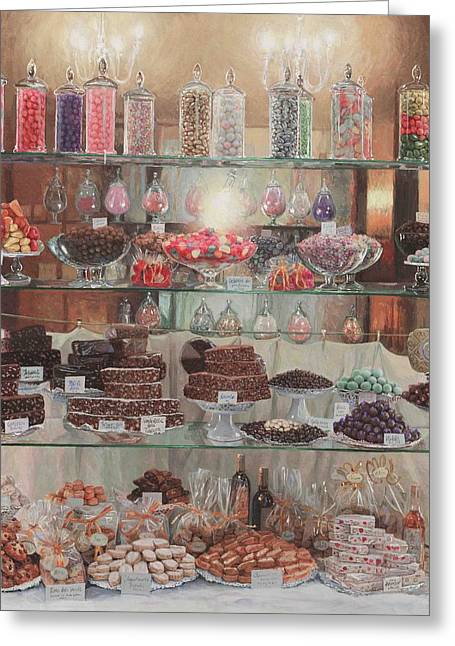Florence Sweety Shop Greeting Card by Helen Parsley
