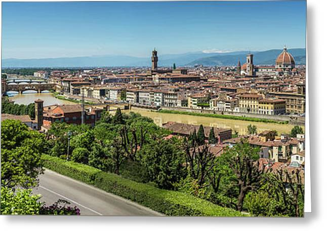 Florence View From Piazzale Michelangelo - Panoramic Greeting Card by Melanie Viola