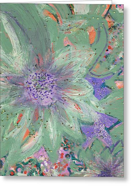 Les Mixed Media Greeting Cards - Flores de Amor Greeting Card by Anne-Elizabeth Whiteway