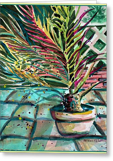 Greeting Card featuring the painting Florescent Palm by Mindy Newman