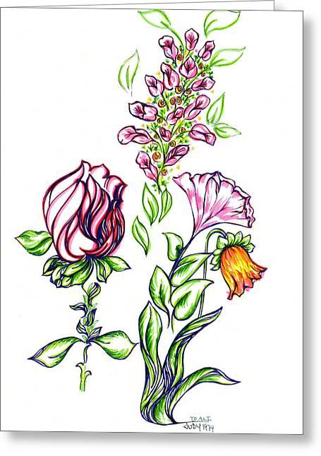 Florets Greeting Card by Judith Herbert