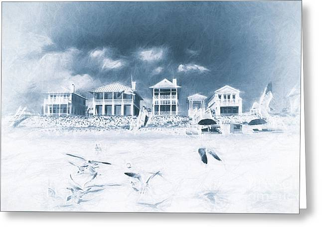 Florida Beach Houses With Birds Flying In The Sand Greeting Card by Vizual Studio