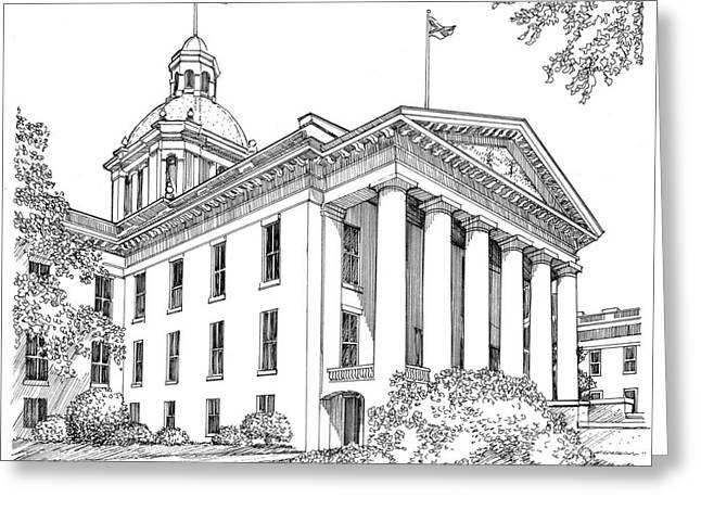 Capitol Drawings Greeting Cards - Florida Capitol 1950 Greeting Card by Audrey Peaty