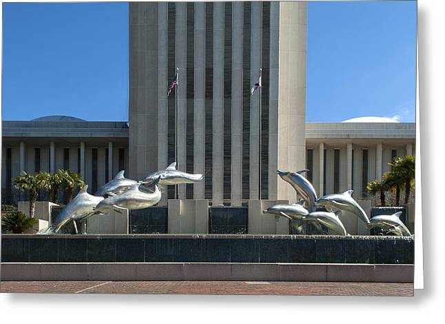 Florida Capitol Dolphin Fountain Greeting Card by Frank Feliciano