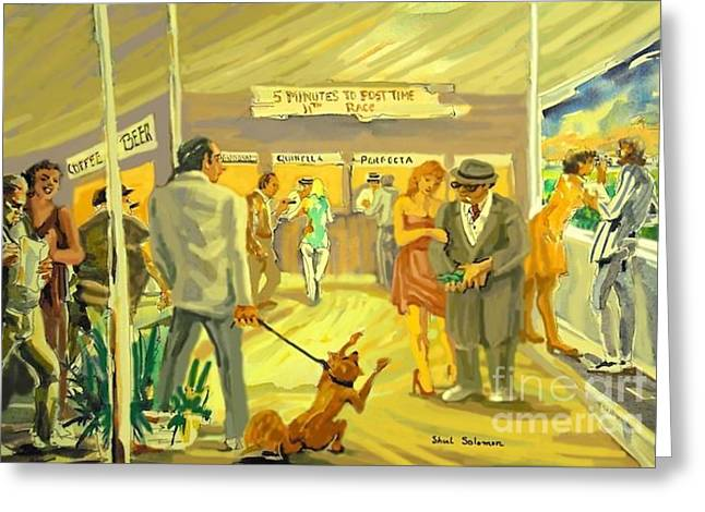 Florida  Dog Track Greeting Card by Shirl Solomon