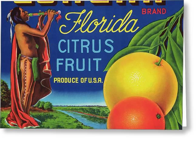 Florida Eureka Citrus Fruit Crate Label Greeting Card by Daniel Hagerman