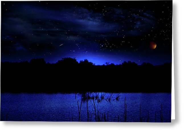 Florida Everglades Lunar Eclipse Greeting Card by Mark Andrew Thomas