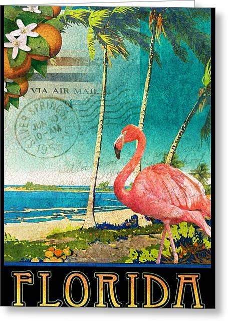 Florida Flamingo Beach Poster Greeting Card