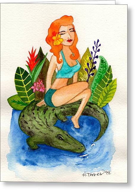 Florida Girl And Her Gator Greeting Card by Heather Torres