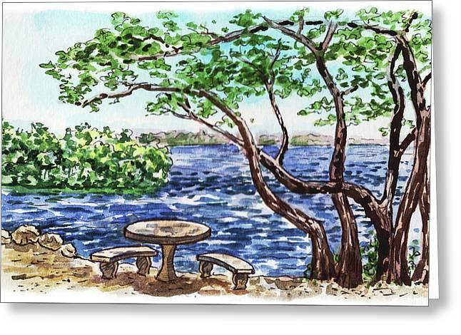Greeting Card featuring the painting Florida Keys John Pennekamp Park Shore by Irina Sztukowski