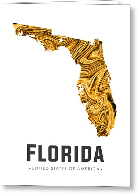 Florida Map Art Abstract In Yellow Gold Greeting Card