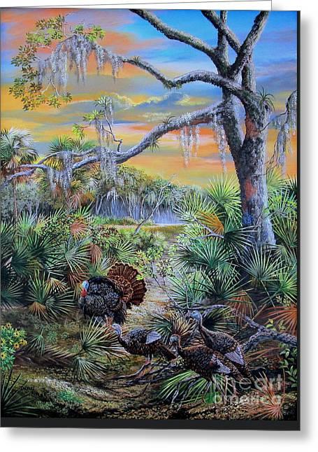 Florida Osceola Turkeys- Headed To Roost Greeting Card by Daniel Butler