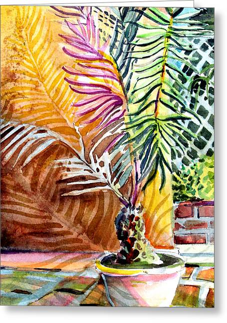 Florida Palm Tree Greeting Card by Mindy Newman
