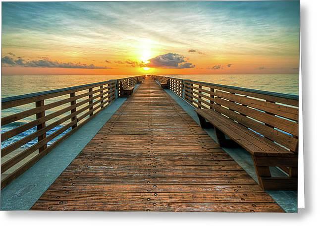 Florida Pier Sunrise Greeting Card
