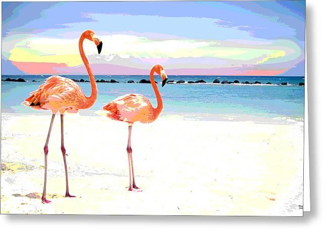Florida Pink Flamingos Greeting Card by Charles Shoup