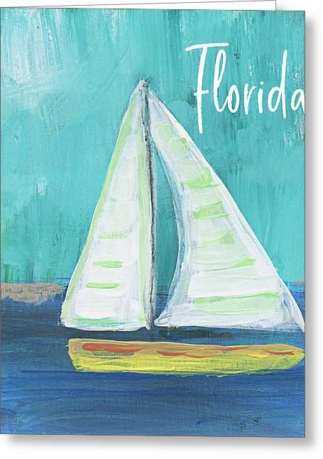 Florida Sailing 2- Art By Linda Woods Greeting Card