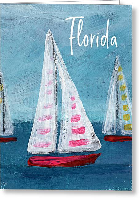 Florida Sailing- Art By Linda Woods Greeting Card
