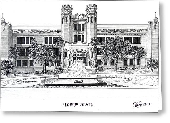 College Campus Buildings Drawings Greeting Cards - Florida State Greeting Card by Frederic Kohli