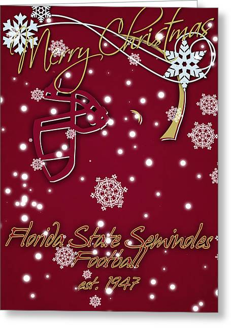 Florida State Seminoles Christmas Card Greeting Card by Joe Hamilton