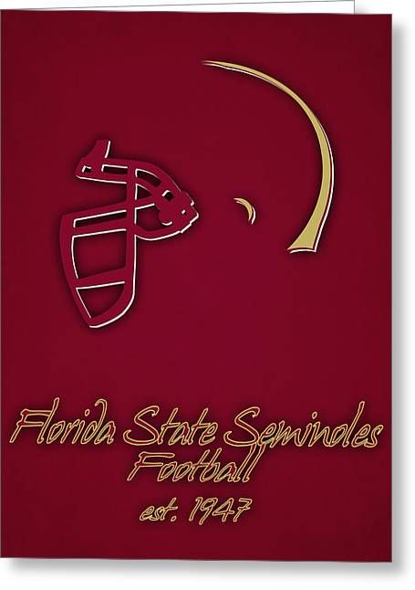 Florida State Seminoles Helmet Greeting Card by Joe Hamilton