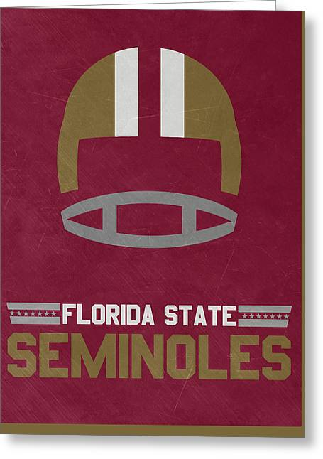 Florida State Seminoles Vintage Football Art Greeting Card by Joe Hamilton
