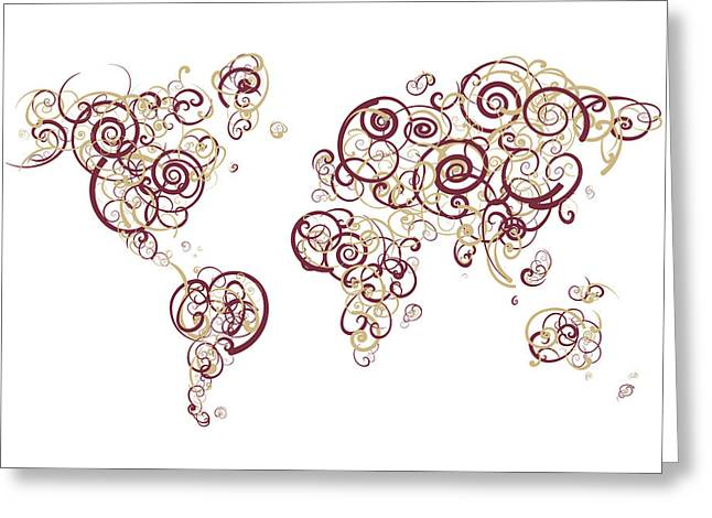 Florida State University Colors Swirl Map Of The World Atlas Greeting Card by Jurq Studio