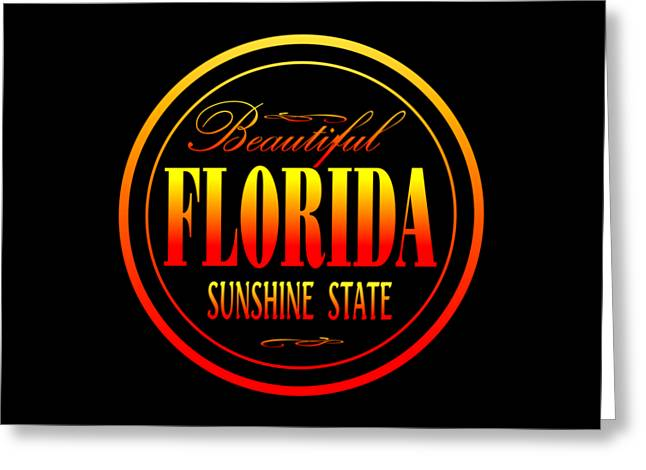 Florida Sunshine State - Tshirt Design Greeting Card by Art America Gallery Peter Potter